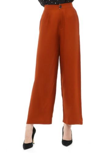 Hamlin brown Jourel Celana Panjang Kasual Kulot Highwaist Wanita Style Kancing Resleting Material Rayon ORIGINAL - Copper Chocolate 941BEAAEF9CCA1GS_1