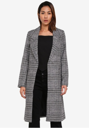 Cotton On black Check Mid Length Coat 011ADAA8A461F5GS_1