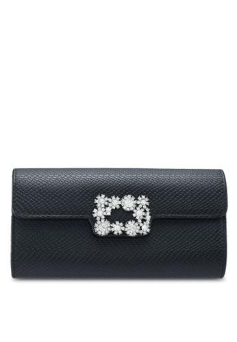 Unisa black Deboss Pattern Dinner Clutch With Glittering Stones & Crystal 652FAAC9252843GS_1