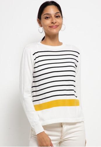 Button On white Long Sleeve Assymetric Stripes Sweater 61B43AA0F6E567GS_1