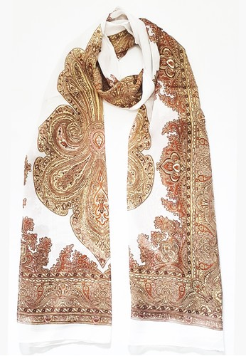 San Marco white and beige Victorian Silk-Feel Scarf Beige On White F4BFDAAB9D7136GS_1