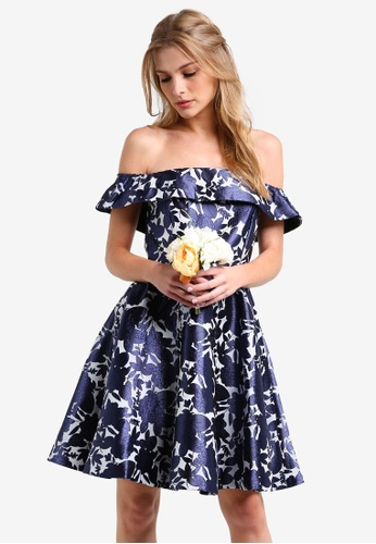 ZALORA navy Bridesmaid Off Shoulder Structured Fit & Flare Dress 4B087AA30F0494GS_1