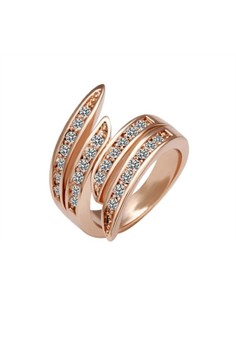 Treasure by B&D R007-7 Czech Drilling Geometric Ring (Rose Gold Plated)