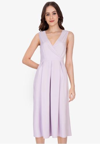 ZALORA WORK purple Panel Back Pleated Dress F5349AAA2E2584GS_1