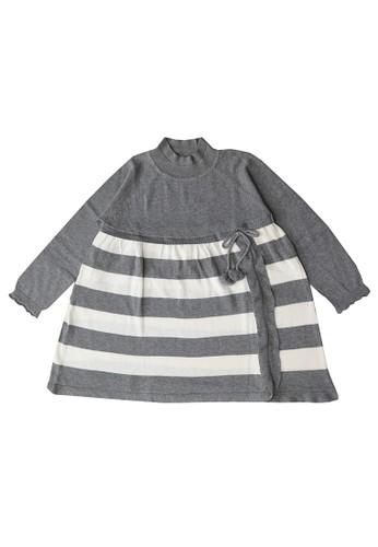ET Panda white and grey Extra Terrestrial Panda 100% Cotton Grey Stripe Dress 69239KACFE6314GS_1