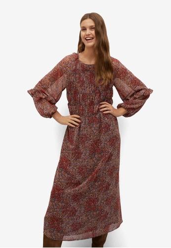 Mango red Floral Print Dress 75CD7AAEC12965GS_1