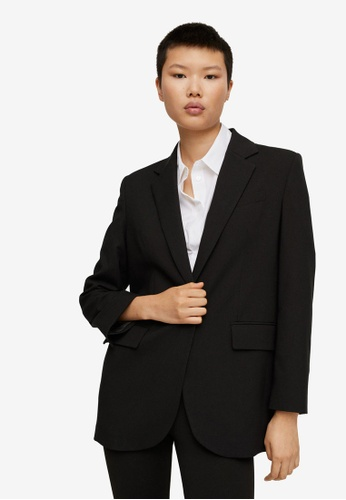 Mango black Pocketed Oversize Blazer 01B30AABBE6EA6GS_1