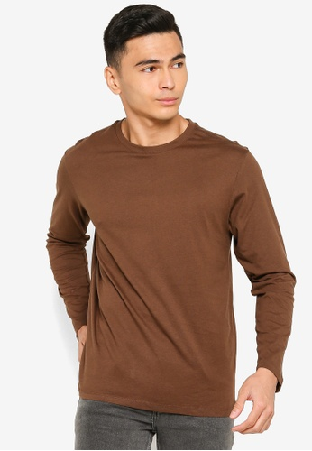 Electro Denim Lab brown Long Sleeve Tee F3FB9AAA5AF933GS_1