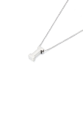 Glamorousky silver Simple Temperament English Alphabet I 316L Stainless Steel Pendant with Necklace D5159AC187FBEDGS_1