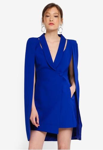 Lavish Alice blue Cut Out Shoulder Detail Cape Blazer Mini Dress B3366AA7E9E0E2GS_1