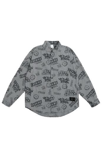 Twenty Eight Shoes Smiley Graffited Printed Striped Shirt 7012W21 94CF2AA68CDB8FGS_1