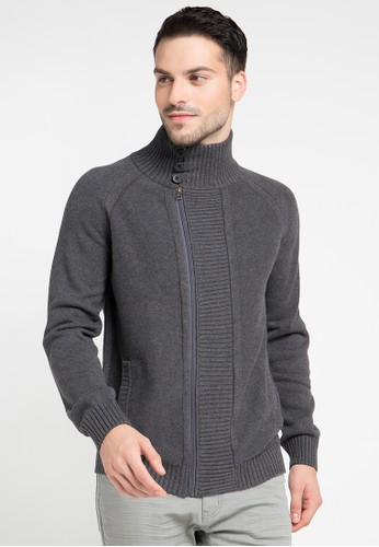 Noir Sur Blanc grey Mens Knit Jacket Long Sleeve NO321AA0VRHOID_1