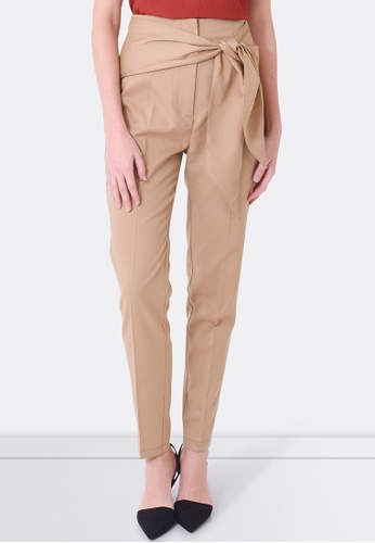FORCAST brown and beige Bianca Tie Waist Pants FO347AA0F7G9SG_1