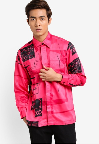 Gene Martino pink and multi Long Sleeve Batik Shirt GE222AA90HDDMY_1