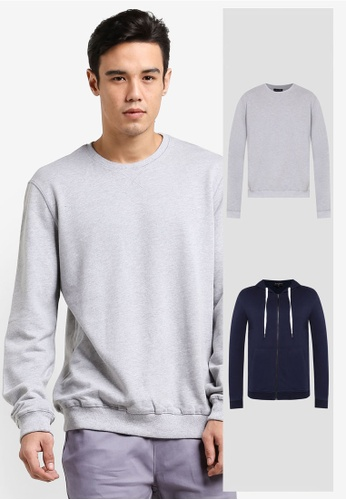 ZALORA grey and navy 2 Pack Cotton Terry Hoodie & Crew Neck Cotton Terry Sweatshirt ZA919AA0F56ASG_1