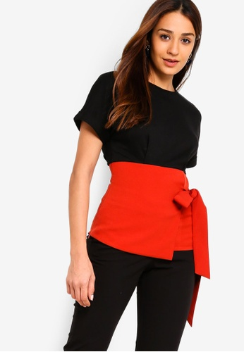 ZALORA black and multi Contrast Self Tie Tee DB9D2AAB626A0AGS_1