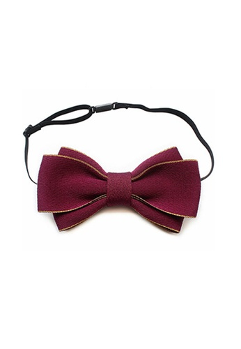 Kings Collection red Simple Apricot Edge Red Bow Ties (KCBT2029) E2C57AC956E23FGS_1