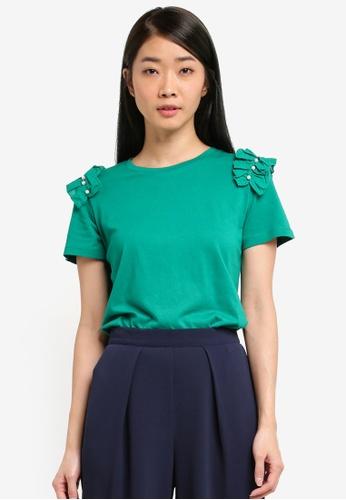 Dorothy Perkins green Pearl Trim Top 8E73BAAC1405BFGS_1