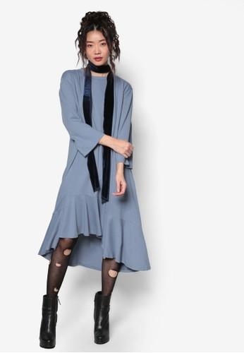 韓式時尚不對稱荷葉擺長袖連身裙, esprit官網服飾, 洋裝