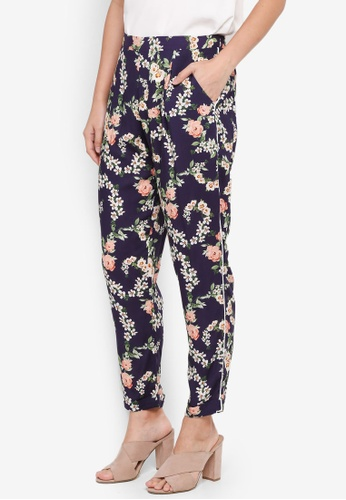Dorothy Perkins 海軍藍色 Petites Navy Floral Joggers CB285AAC69EAFEGS_1