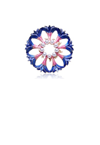 Glamorousky white Fashion and Elegant Colored Flower Round Brooch with Imitation Pearls 14A5CACAC4F92FGS_1