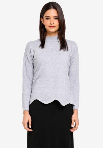 Zalia grey Knitted Scallop Hem Sweater 02E46AA38158ECGS_1