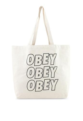 OBEY white Jumble Lo-Fi Tote Bag 5D561AC34F5A35GS_1