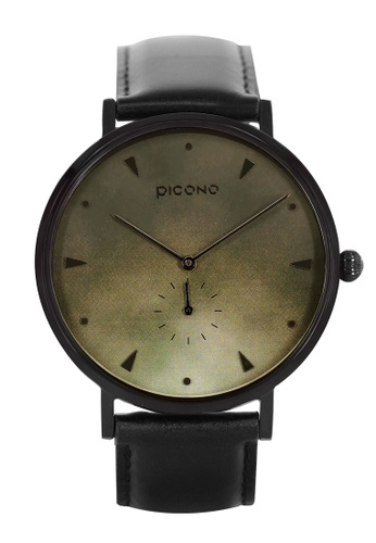 PICONO Watches black and green A Week Collection Black Leather Strap Watch 6DD22AC5C69E5EGS_1