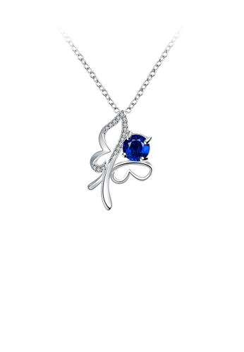 Glamorousky blue Fashion Hollow Butterfly Pendant with Blue Cubic Zirconia and Necklace 589B5AC2F0065CGS_1