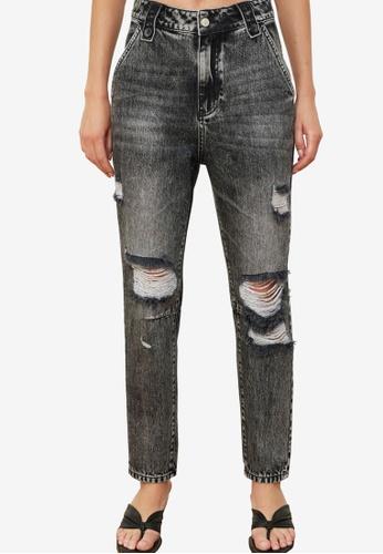Trendyol black High Waist Mom Ripped Jeans EE27CAA03A3E7BGS_1