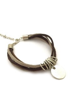Grey and Brown Multi-Strand Bracelet with Disk Tag