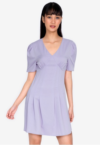 ZALORA BASICS purple Puff Sleeve V Neck Mini Dress 476DFAAEF12530GS_1