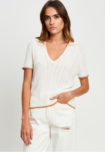 The Fated white Lily Collared Knit Top 459ACAA9BD9733GS_1