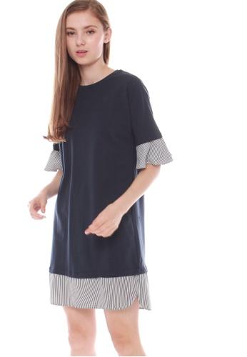 JOVET blue and navy Striped Hem Dress 4806EAACA6207DGS_1