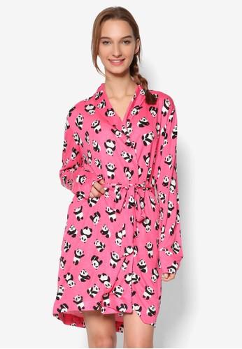 熊zalora 泳衣貓圖樣長袍, 服飾, 服飾