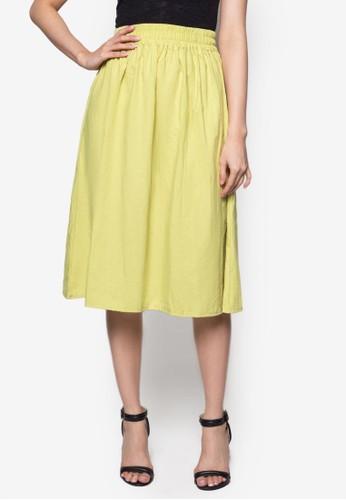 esprit台北門市素色亞麻及膝裙, 服飾, 及膝裙