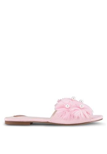 Velvet pink Pearl Feather Embellished Sliders 62C97ZZ57EBBF7GS_1