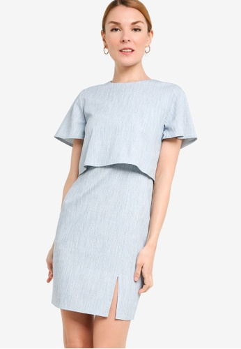 ZALORA WORK 藍色 Double Layer Short Sleeves Dress C1800AA421C236GS_1