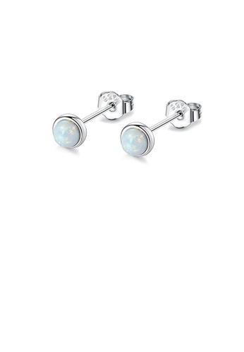 Glamorousky white 925 Sterling Silver Simple Fashion Geometric Round White Opal Stud Earrings E933AACFB26ED8GS_1