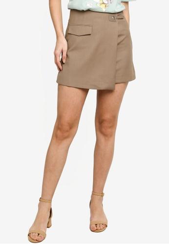 Hopeshow green Front Overlap High Waist Mini Skirt 48864AAF509B0FGS_1