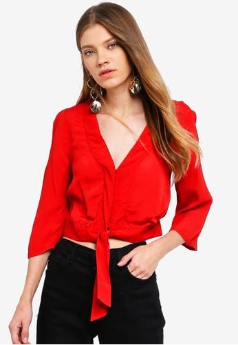 Miss Selfridge red Red Tie Front Tee DD2C8AAE74FDB5GS_1