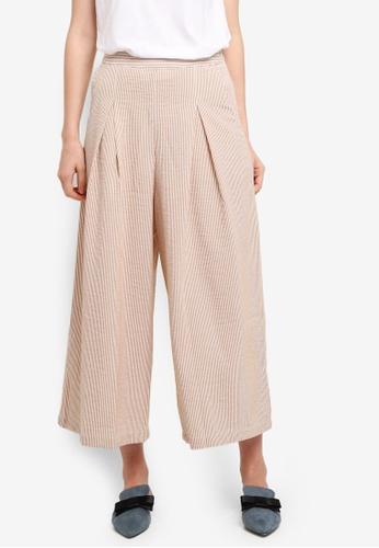 Mango brown Striped Crop Trousers 81FF2AA9AE0796GS_1