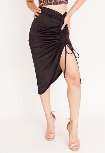 Hook Clothing black Asymmetrical Ruched Bodycon Skirt 7A87EAA999C35CGS_1