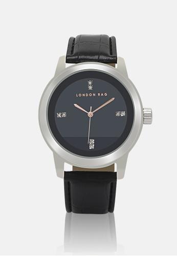 London Rag black Unisex Black Casual watch with CROC PU leather Strap A8078AC66F9CC7GS_1