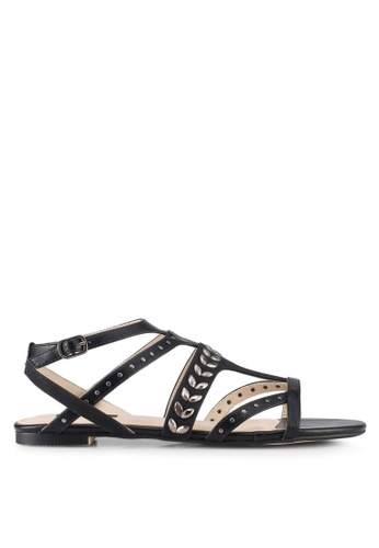 ZALORA 黑色 Embellished Strappy Sandals 3AED1SH27BCAAEGS_1