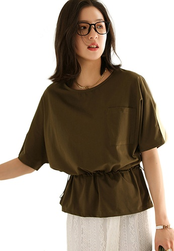 Sunnydaysweety green Korean Style Round Neck Blouse With Drawstring Waist Top A21031203GR C8733AA9511E21GS_1
