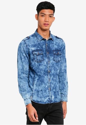 Fidelio blue Acid Wash Denim Shirt 2E7CCAA22D53AAGS_1