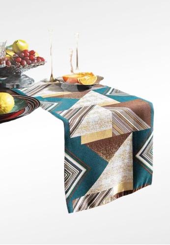 Ayra Home & Living brown and green Geometric Green Modern Table Runner Drape 435BDHL214DB1CGS_1