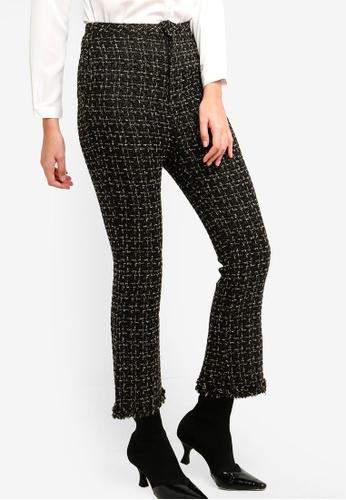 Zalia black Tweed Crop Flare Pants A2212AAD1D17E5GS_1