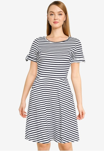 Dorothy Perkins navy Navy Stripe Printed Jersey T-Shirt Dress 6D3D5AADB885C6GS_1
